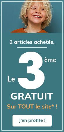 2 articles achetés, le 3ème GRATUIT Sur TOUT le site* !
