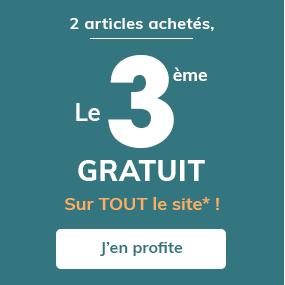 2 articles achetés, le 3ème gratuit sur TOUT le site*