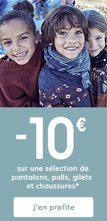 -10€ sur une sélection de pantalons, pulls, gilets et chaussures*