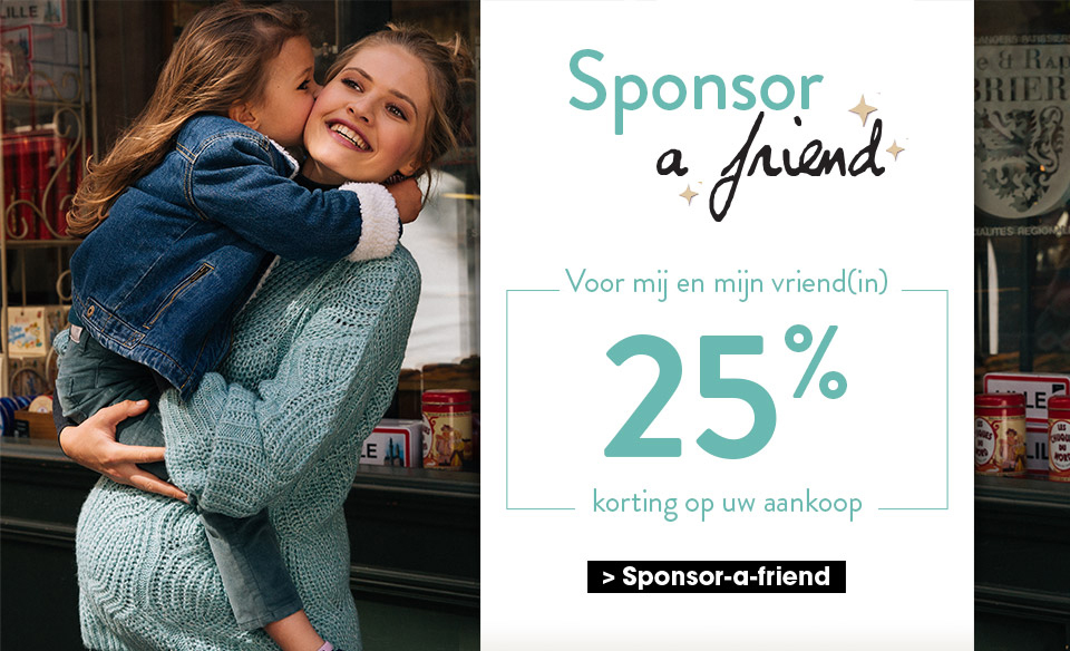 Sponsor a friend! Voor mij en mijn vriend(in) 25% korting op uw aankoop. Meld je aan om je
