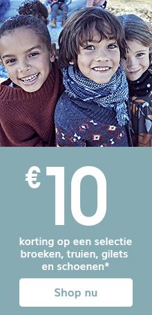 € 10 korting op een selectie broeken, truien, gilets en schoenen*