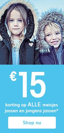 €15 korting op alle meisjes jassen en jongens jassen*
