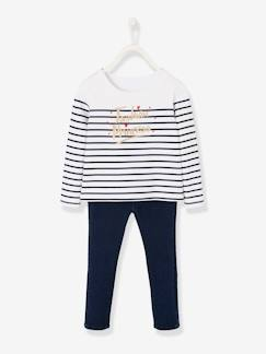 Meisje-Trui, vest, sweater-Sweater-Set marinetrui en tregging van denim.