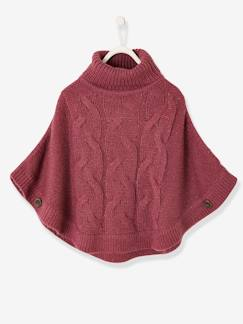 Fille-Pull, gilet, sweat-Pull poncho fille à torsades