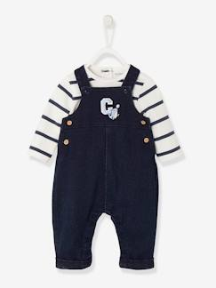 Baby-Salopette, jumpsuit-Set tuinbroek van fleece, denimlook en gestreepte body pasgeboren baby