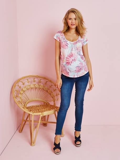 T-shirt de grossesse imprimé tropical ALL OVER ROSE+ALL OVER VERT - vertbaudet enfant