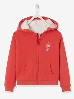 Fille-Pull, gilet, sweat-Sweat à capuche fille doublé sherpa
