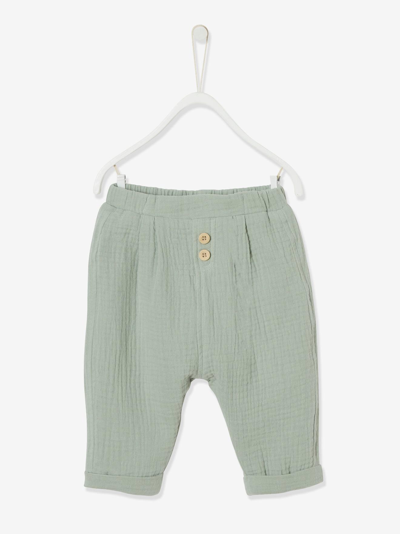 VERTBAUDET Pantalon b/éb/é fille en gaze de coton brod/é Blanc 1M 54CM