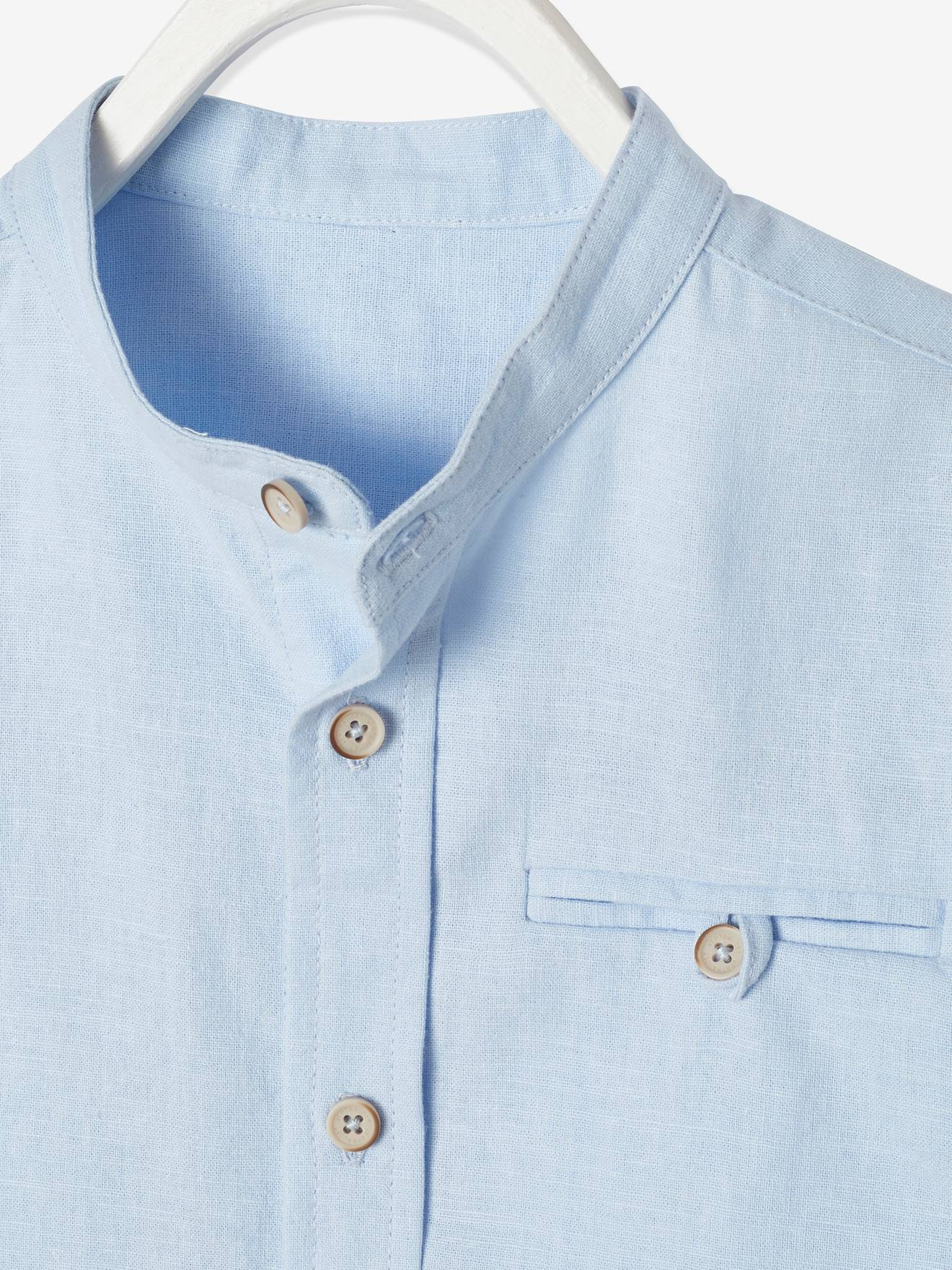Chambre Bleu Ciel Et Lin chemise col mao garçon en coton/ lin manches courtes - bleu ciel, garçon