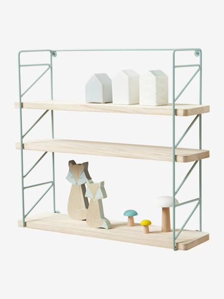 Etagère métal et bois 3 niveaux - vert, Rangement et décoration