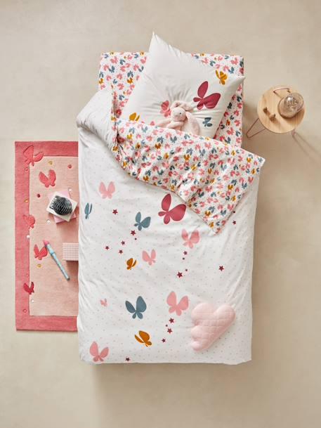 parure housse de couette taie d 39 oreiller enfant envolee rose imprim meubles et linge de lit. Black Bedroom Furniture Sets. Home Design Ideas