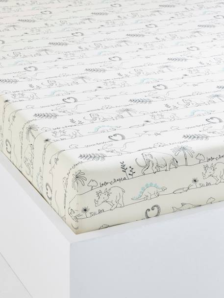 drap housse enfant dinorama blanc imprim meubles et linge de lit. Black Bedroom Furniture Sets. Home Design Ideas