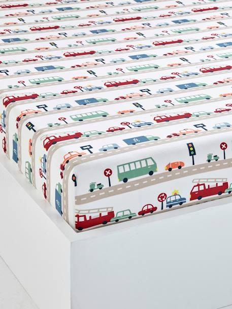 drap housse enfant auto city beige gris imprim. Black Bedroom Furniture Sets. Home Design Ideas