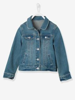Meisje-Mantel, jas-Meisjesvest in stretch denim
