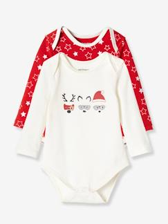 Bébé-Body-Lot de 2 bodies de noël coton stretch manches longues