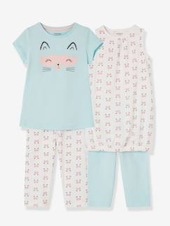 Fille-Pyjama, surpyjama-Lot de 2 chemises de nuit + 2 leggings fille combinables