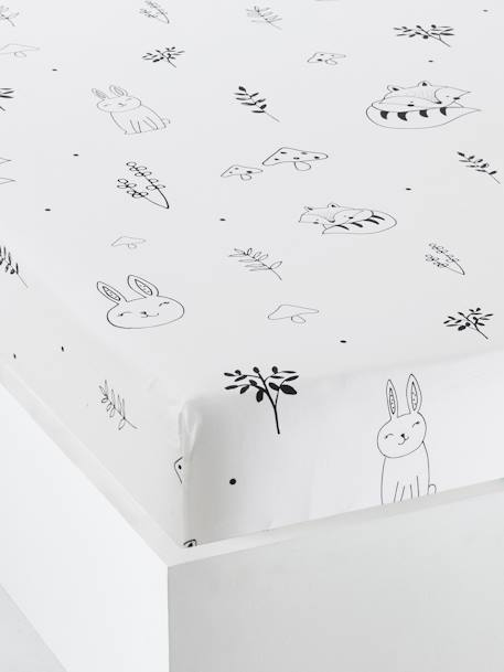 Drap housse bébé FORET MAGIQUE   blanc / noir, Meubles et linge de lit