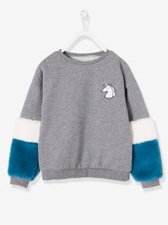 Fille-Sweat-Sweat fille badge licorne manches aspect fourrure