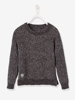 Fille-Pull-Pull fille maille chenille fil brillant