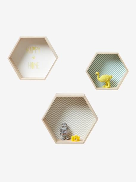 Lot de 3 étagères hexagones enfant - bois/multico, Rangement et ...