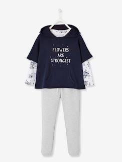 Fille-Collection sport-Ensemble fille sweat + T-shirt + pantalon