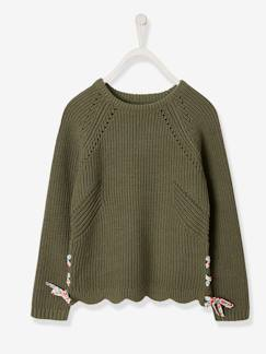 Fille-Pull, gilet, sweat-Pull-Pull fille à lacets fleuris
