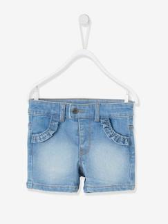 Baby-Short-Denim short met ruches voor babymeisjes
