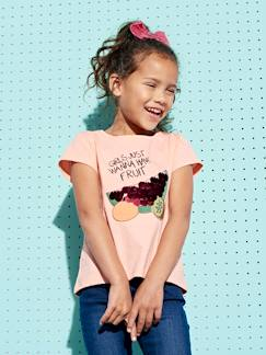 Fille-T-shirt, sous-pull-T-shirt fille motifs fruits sequins géants et broderies