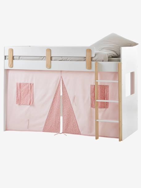 Tente pour lit mezzanine mi-hauteur LIGNE EVEREST - rose/aop ...