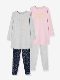 Fille-Pyjama, surpyjama-Lot de 2 chemises de nuit en jersey + leggings fille en coton
