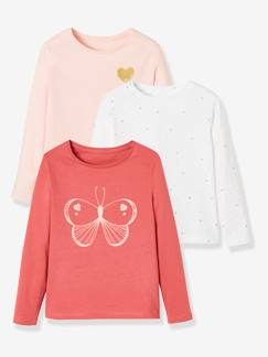 Fille-T-shirt, sous-pull-Lot de 3 T-shirts fille assortis