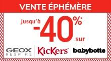 Jusqu'à -40% sur GEOX, KICKERS, BABYBOTTE* !