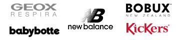 Geox, babybotte, new balance, bobux, kickers