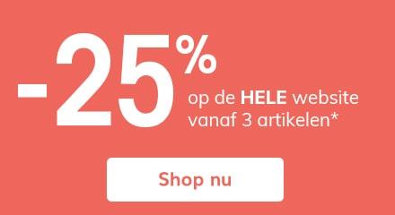 -25% op de HELE website vanaf 3 artikelen!*