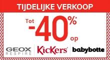 Tot -40% op GEOX, KICKERS, BABYBOTTE* !