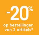 -20% op bestellingen van 2 artikels of meer op de hele website*