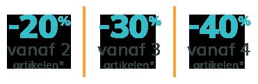 -20% op 2, -30% op 3, -40% op 4 artikelen of meer!*
